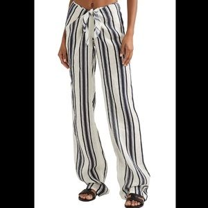 Tory Burch Awning Tie Front Linen Stripe Pant S